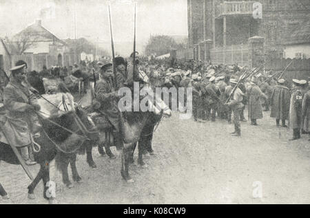 Russian Cossacks on patrol, East Prussia - Stock Photo