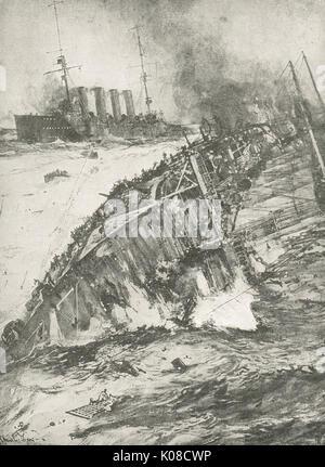 Sinking of HMS Aboukir, 22 Sept 1914 - Stock Photo
