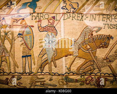 Bayeux Tapestry, Reading Museum, Reading Town Hall, Reading, Berkshire, England, UK, GB - Stock Photo
