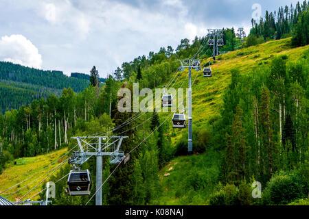 gondola ski lift at the Vail ski resort in Colorado USA - Stock Photo