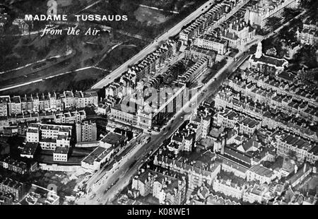 Aerial view of Madame Tussauds waxwork museum and Baker Street underground station in Marylebone Road, London.  - Stock Photo