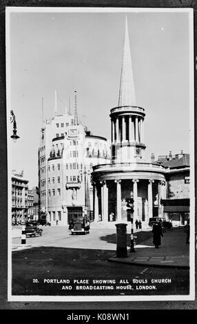BBC Broadcasting House, Portland Place, London, around the time the building was completed in 1932, with All Souls - Stock Photo