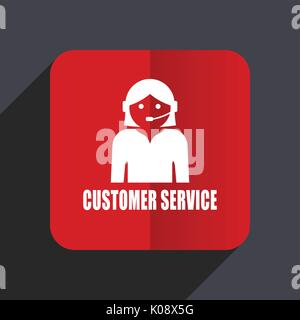 Customer service flat design web vector icon. Red square sign on gray background in eps 10. - Stock Photo
