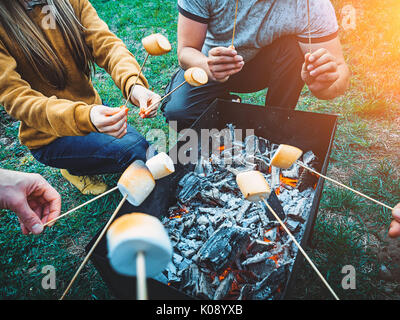 Company of friends by campfire making fried marshmallows - Stock Photo
