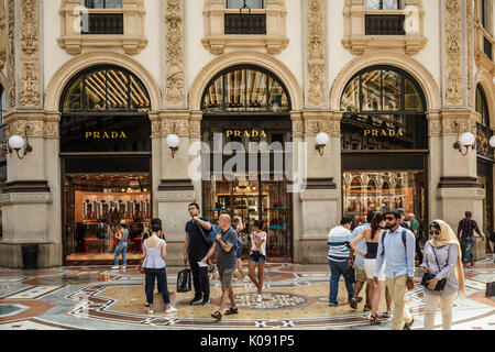 Prada boutique. Galleria Vittorio Emanuele II. Milan, Italy - Stock Photo