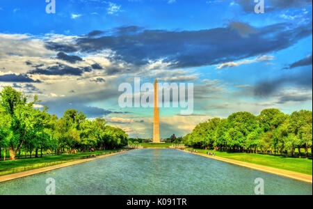 Washington Monument on the National Mall in Washington, DC. - Stock Photo