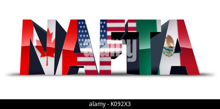 NAFTA or the north american free trade agreement symbol as the flags of United States Mexico and Canada as a trade - Stock Photo