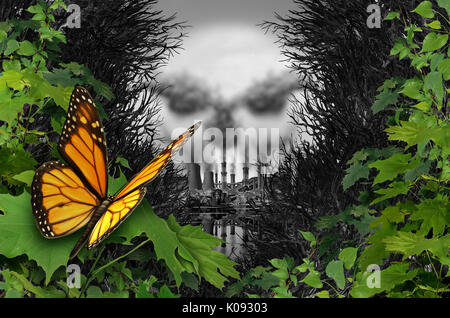 Environmental destruction and ecological natural habitat contamination as a butterfly looking at a polluted industrial - Stock Photo