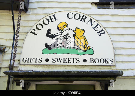 Shop sign for 'Pooh Corner' in the village of Hartfield, East Sussex. UK - Stock Photo