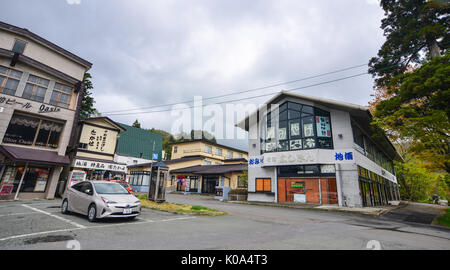 Aomori, Japan - May 16, 2017. Souvenir shops near the Lake Towada in Aomori, Japan. Lake Towada is the largest caldera - Stock Photo