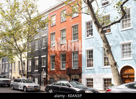 New York, USA - September 27, 2016: Colorful brick facades of typical lower Manhattan apartment buildings in New - Stock Photo