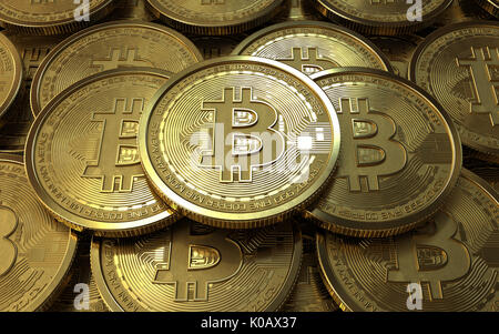 3d illustration of bitcoins stack background - Stock Photo