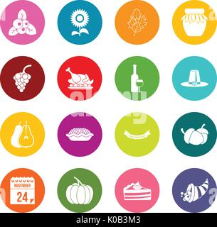 Thanksgiving icons many colors set - Stock Photo