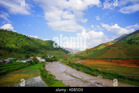 Terraced rice field in Yen Bai, Vietnam. Yen Bai, a province in northern Vietnam, has many beautiful landscapes, - Stock Photo