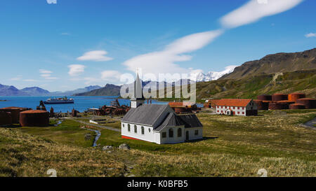 Old abandoned Norwegian whaling station and settlement of Grytviken with restored Lutheran Whalers Church.South - Stock Photo