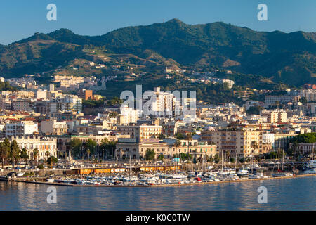 Early morning view over Marina and town of Messina, Sicily, Italy - Stock Photo