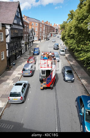 Open top sightseeing bus in Chester - Stock Photo