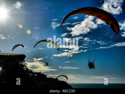 Paragliders Soar over Canoa Quebrada Beach, Ceara, Brazil - Stock Photo