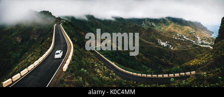 Panoramic view of Taganana village with winding road on north of Tenerife. Canary Islands, Spain - Stock Photo