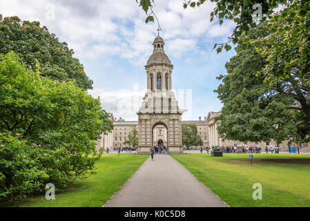 Old bell tower at Trinity College in Dublin, Ireland - Stock Photo