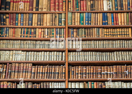 Background of old vintage books on wooden bookshelf in a library - Stock Photo
