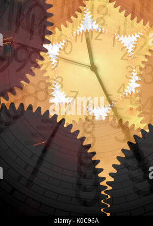 an image of gears and clock - Stock Photo