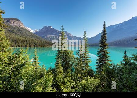 Emerald Lake at sunrise in Yoho National Park, British Columbia, Canada. - Stock Photo