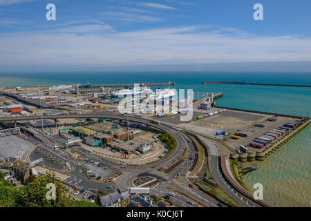 Dover, Kent, UK - August 17, 2017:  Ariel view of Dover Ferry Port in Kent.  Taken on a bright sunny summer day. - Stock Photo