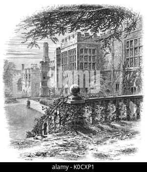 1870: Haddon Hall is an English country house on the River Wye near Bakewell is one of the seats of the Duke of - Stock Photo