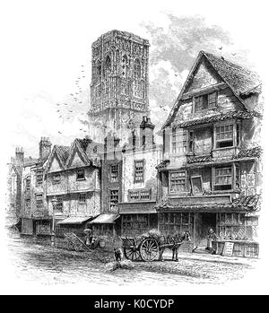 1870: A sketch of Temple Street in Bristol, virtually unchanged since the days of Queen Elizabeth I. Flemish weavers, - Stock Photo