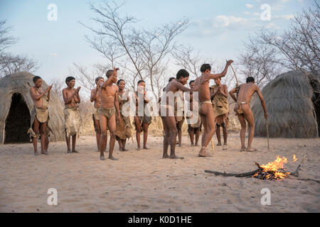 Men and women dancing in Bushman Hunters Living History Village. Grashoek, Otjozondjupa, Namibia, Africa. - Stock Photo