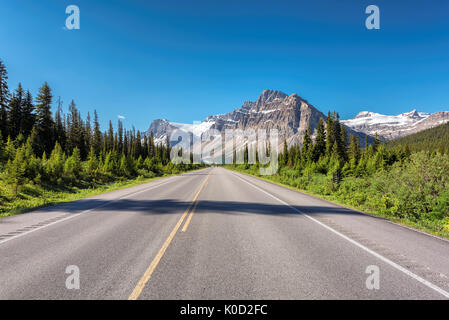 Beautiful Highway through Canadian Rockies in Banff National Park - Stock Photo