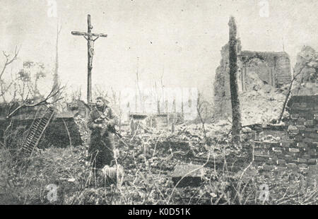 Lone soldier paying his respects, Neuve Chapelle church ruins, 1915, WW1 - Stock Photo