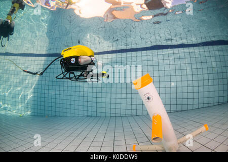 Video Ray ROV training underwater at swimming pool. - Stock Photo