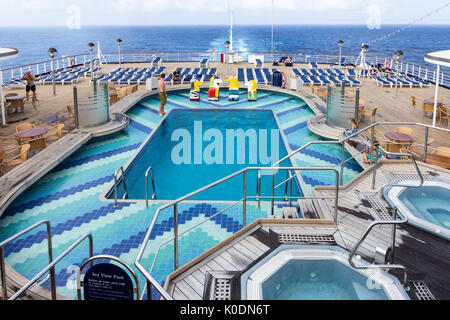 Pool deck Holland America line cruise ship Oosterdam, South Pacific - Stock Photo
