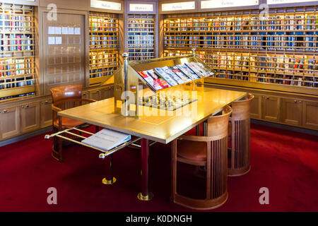 Library on board the Holland America line cruise ship Oosterdam - Stock Photo