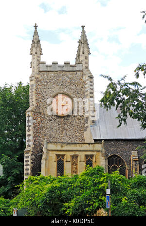A view of the redundant parish church of St Michael-at-Plea in Redwell Street, Norwich, Norfolk, England, United - Stock Photo