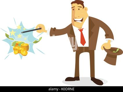 Businessman character making money instantly - Stock Photo