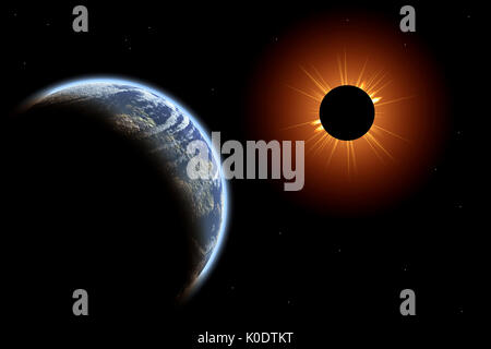 Total Solar Eclipse Viewed From Space - Stock Photo