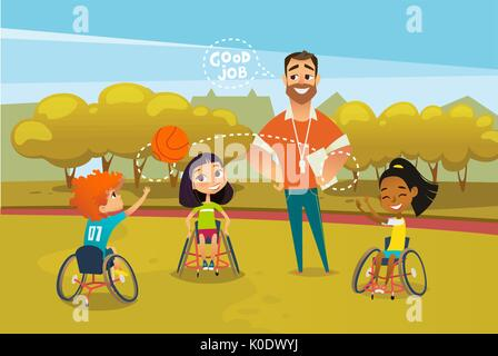Joyful disabled kids in wheelchairs playing with ball and male coach standing near them and supervising. Concept - Stock Photo