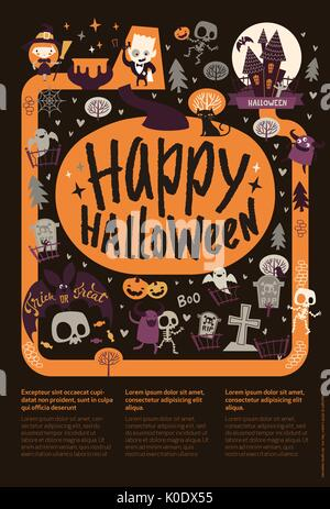 Cute festive Happy Halloween announcement banner template with cartoon ghosts, pumpkins, skeletons and place for - Stock Photo