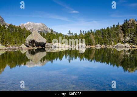 Servaz Lake (Val Chalamy, Mont Avic Natura Park, Aosta Valley, Italy) - Stock Photo