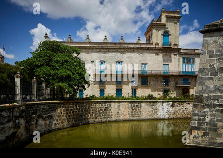 Cuban, cuba, Capital Havana old Town, The Castillo de la Real Fuerza with moat (Castle of the Royal Force) western - Stock Photo