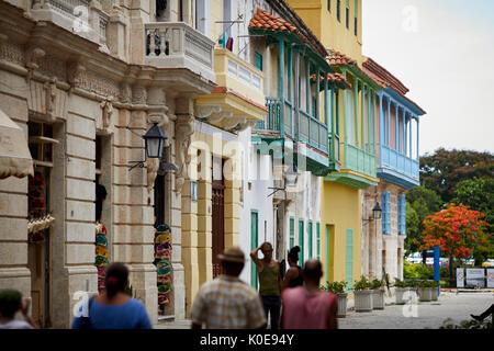 Cuban, cuba, Capital Havana typical bright coloured collar balconies on a side street - Stock Photo