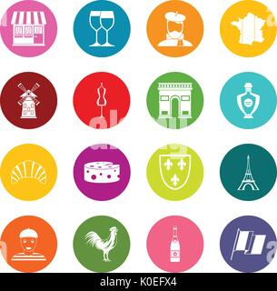 France travel icons many colors set - Stock Photo