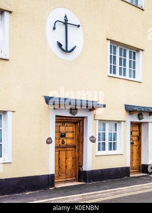 An unusual house ornament on the wall of a house at Minehead in Somerset. - Stock Photo