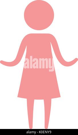 color pink pictogram silhouette woman in dress with hands up - Stock Photo