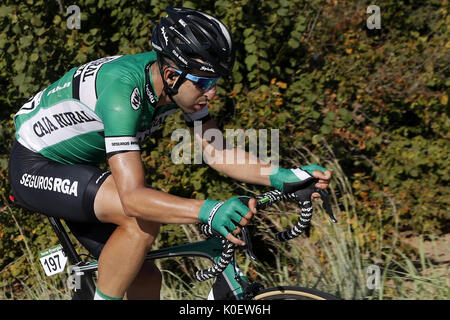 Spanish cyclist of Caja Rural team Diego Rubio competes during the fourth stage of La Vuelta cycling race, 198.2 - Stock Photo