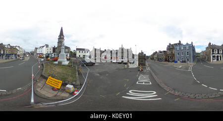 Market Place, Selkirk, UK. 22nd Aug, 2017. Selkirk Streetscape Regeneration (NOTE: Image was created as an Equirectangular - Stock Photo