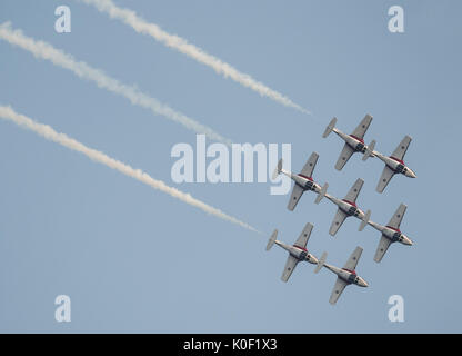 August 11, 2017 - Abbotsford, British Columbia, Canada - Canadian Forces Snowbirds aerial demonstration team pilots - Stock Photo